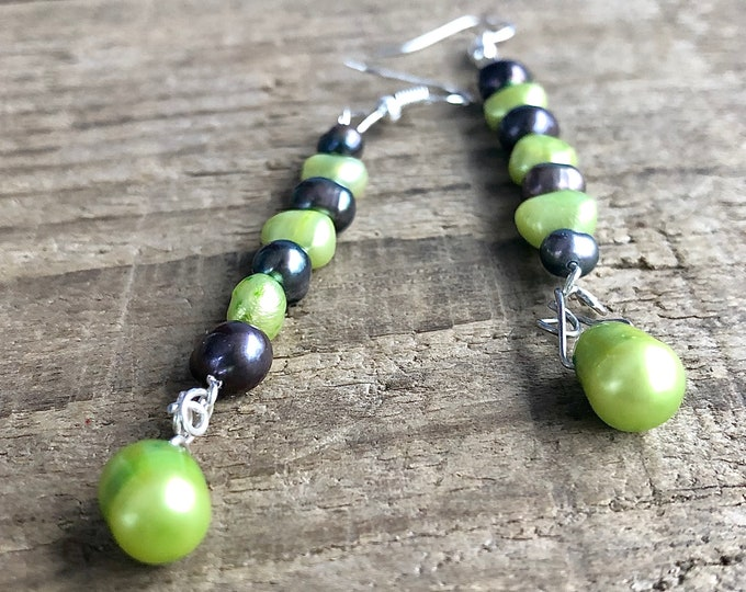 Navy and Green Freshwater Pearl Earrings