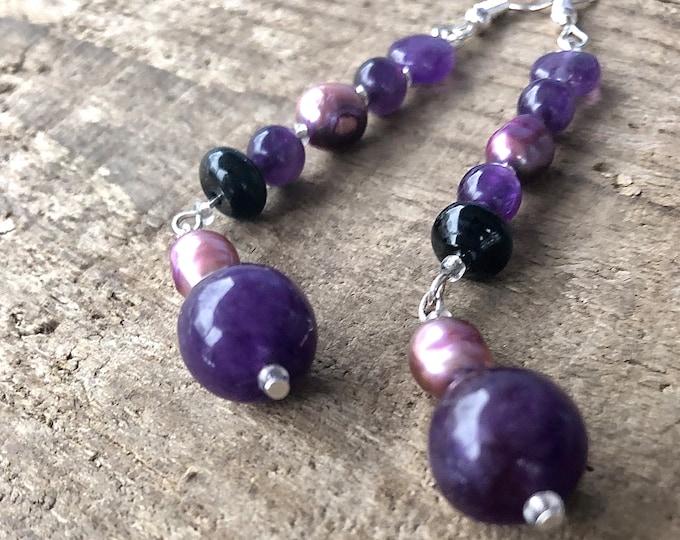 Purple Freshwater Pearl & Amethyst Earrings