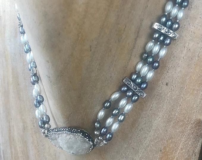 Quartz Crystal & Peacock Pearl Choker Necklace