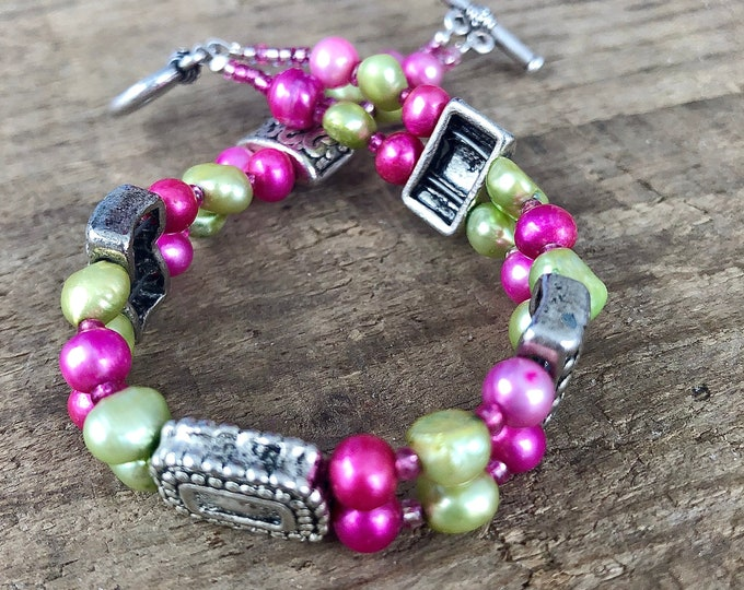Green and Pink Freshwater Pearl Bracelet