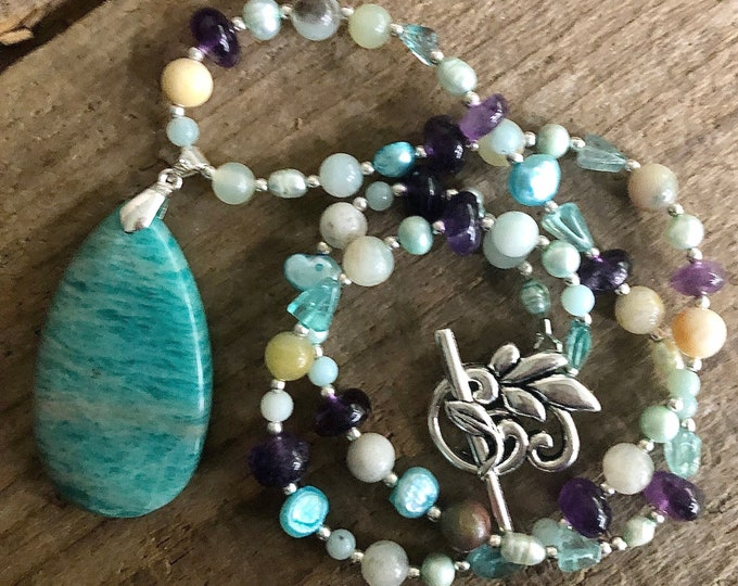 Amazonite & Purple Amethyst Necklace