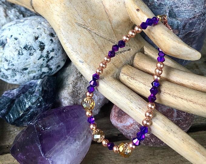 Rose Gold Freshwater Pearl & Purple Crystal Bracelet