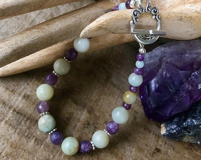 Amazonite, Amethyst & Lepidolite Bracelet