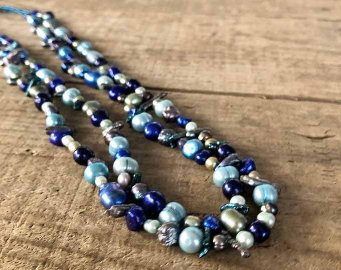 Blue Freshwater Pearl Double Necklace