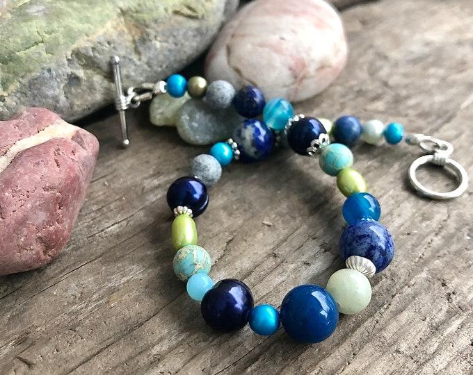 Lapis Lazuli, Blue Lace Agate & Pearl Bracelet