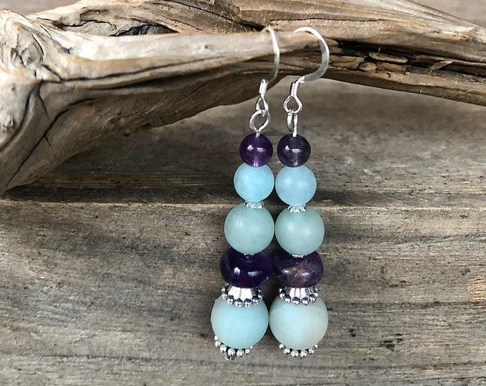 Blue Amazonite & Purple Amethyst Drop Earrings