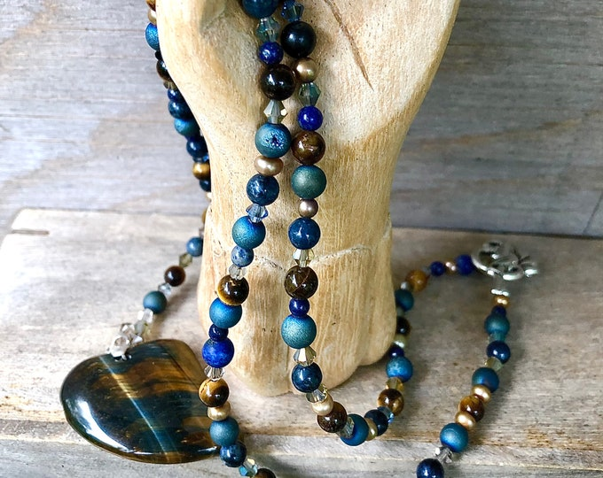 Blue/Gold Tiger Eye Lapis Lazuli & Agate Druzy Necklace, Boho Healing Crystal Gemstone Jewelry, 25th Birthday Gift for Girlfriend