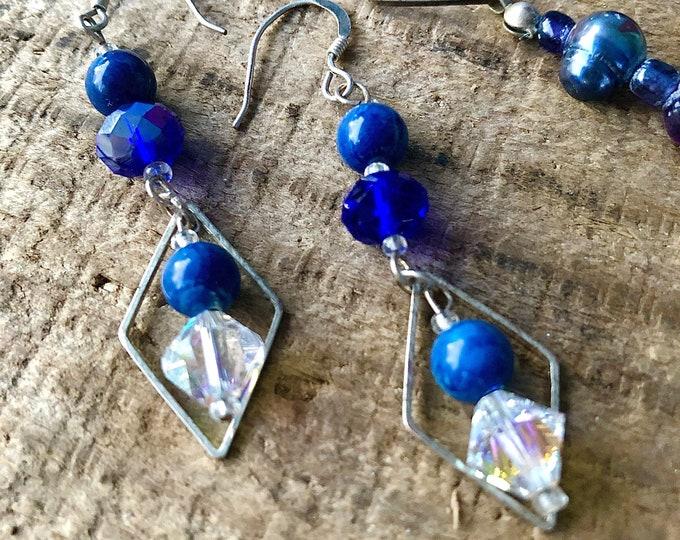 Lapis Lazuli & Crystal Earrings
