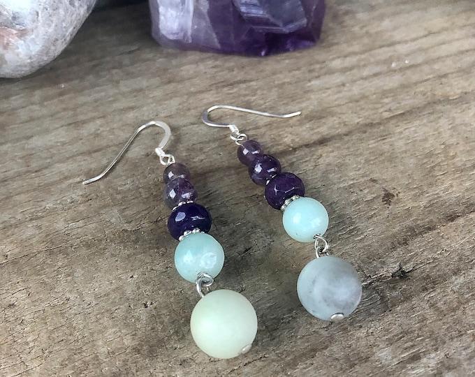 Amethyst & Amazonite Drop Earrings