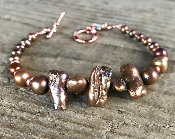 Freshwater Pearl Bracelet, Copper & Gold Pearl Jewelry