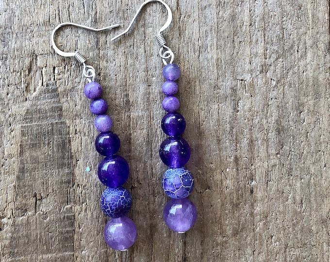 Purple Crazy Lace Agate & Amethyst Earrings