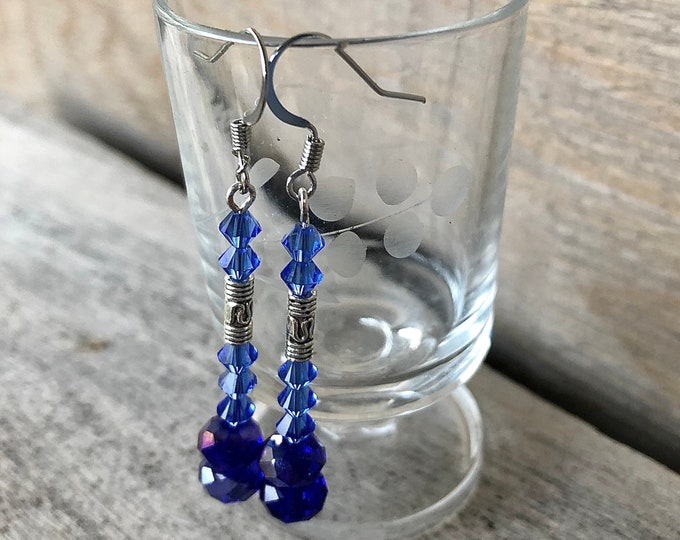 Blue Czech Crystal Dangle Earrings with Silver Charms