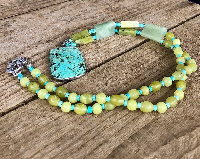 Turquoise & Jade Pendant Necklace