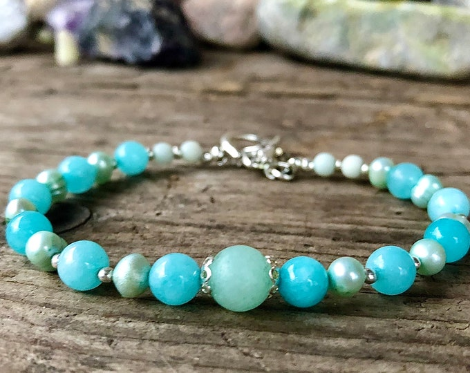 Blue Amazonite & Freshwater Pearl Bracelet
