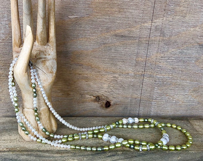 Green and Ivory Freshwater Pearl & Crystal Necklace