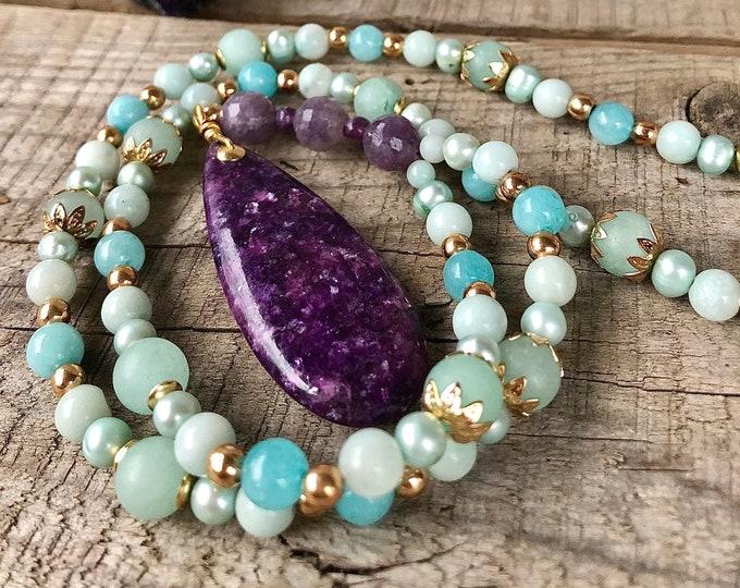 Blue Amazonite & Purple  Lepidolite Necklace