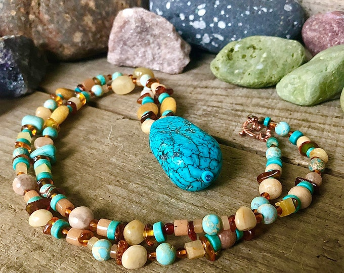 Turquoise Amber Citrine Jade & Coral Necklace