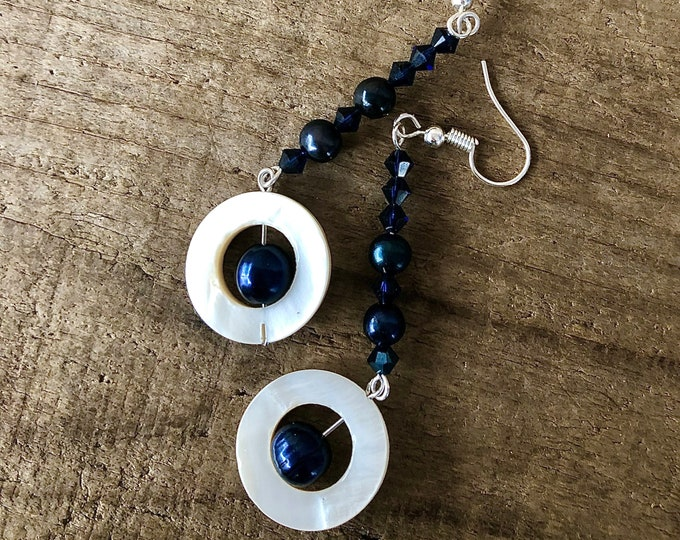 Navy and Silver Freshwater Pearl, Crystal & Mother of Pearl Earrings