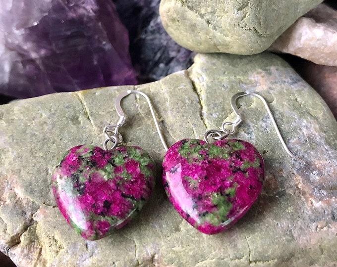 Fuchsite Ruby Heart Drop Earrings