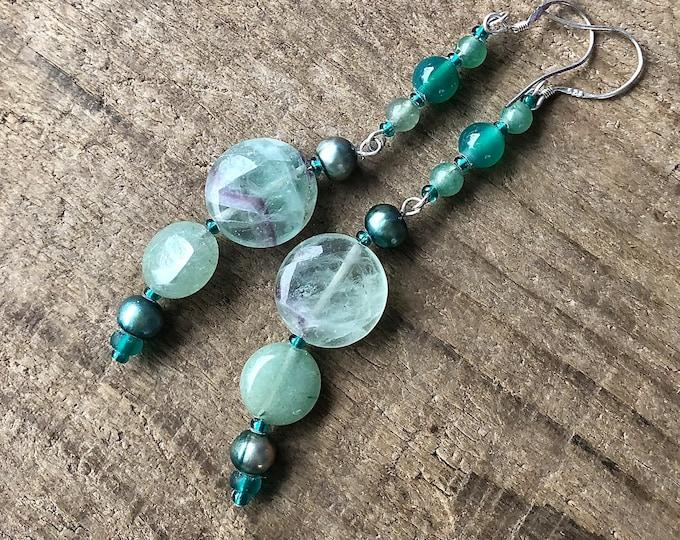 Green Aventurine Fluorite & Pearl Earrings
