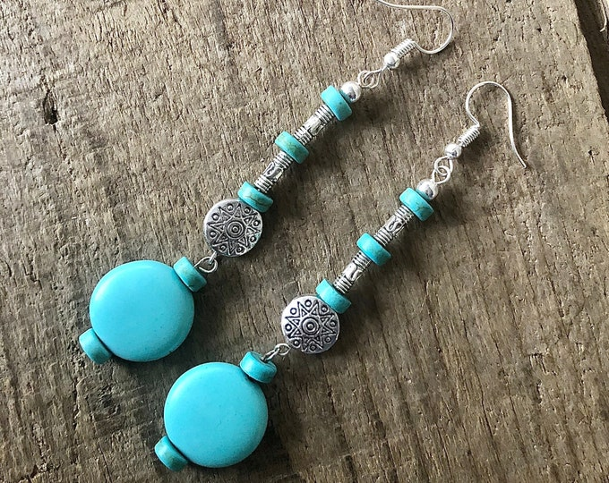 Turquoise Howlite & Silver Dangle Earrings