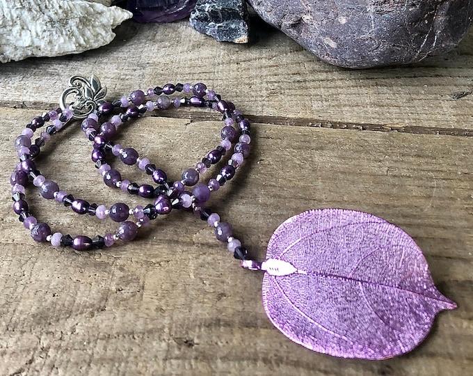 Copper Leaf Pendant, Pearl Crystal & Lepidolite Necklace