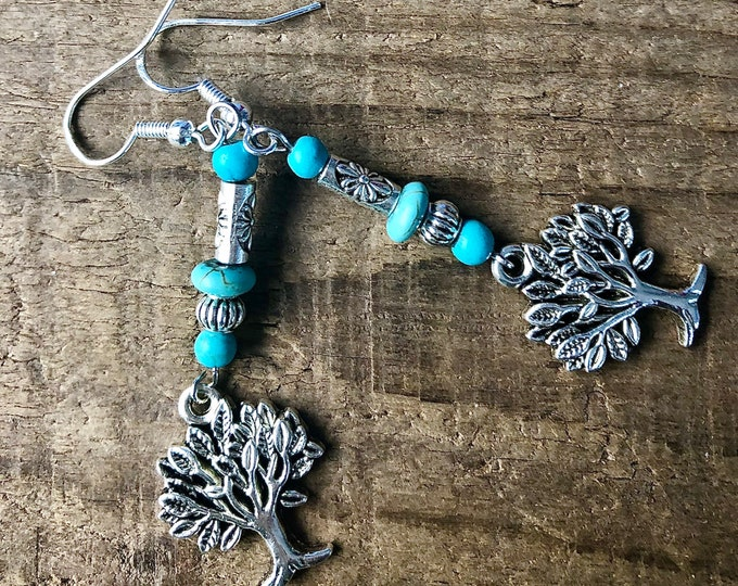 Turquoise & Silver Tree of Life Earrings