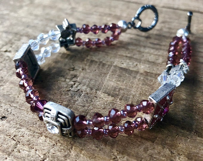 Purple & Silver Crystal Bracelet