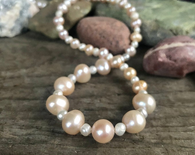 Blush and White Freshwater Pearl Necklace