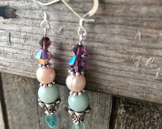 Freshwater Pearl, Apatite, Amazonite, & Crystal Earrings