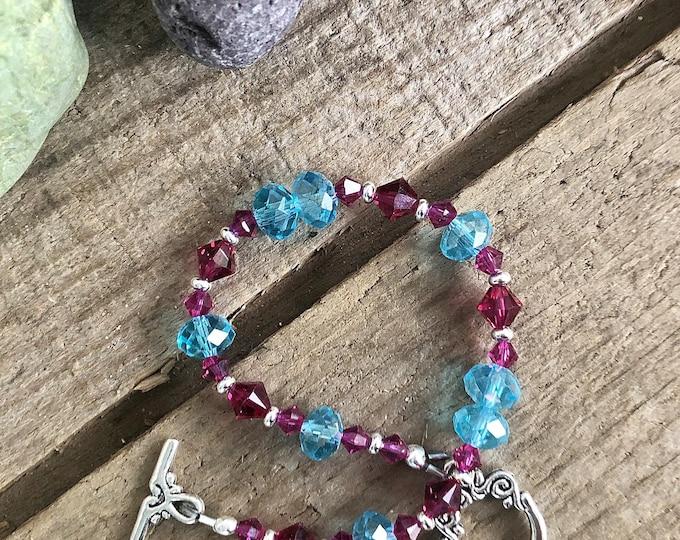 Pink and Blue Swarovski Crystal Beaded Bracelet