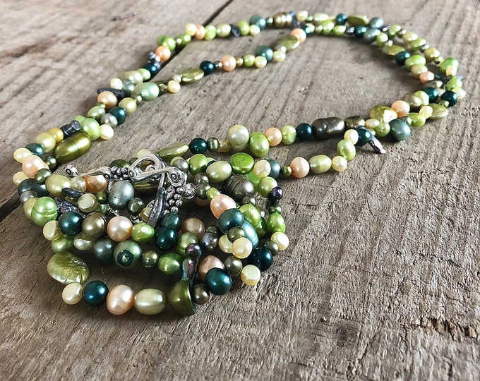 Colourful Green Freshwater Pearl Necklace