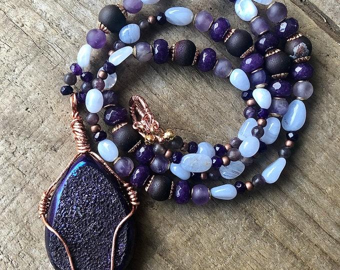 Blue Lace Agate, Lepidolite, Purple Amethyst, & Copper Necklace