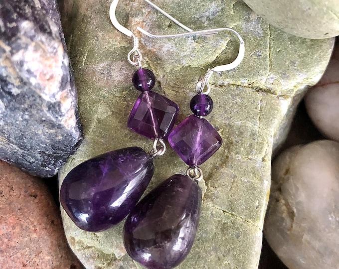 Purple Amethyst Drop Earrings