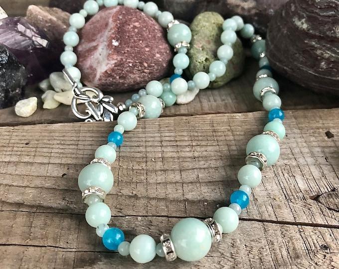 Blue Amazonite & Blue Topaz Necklace