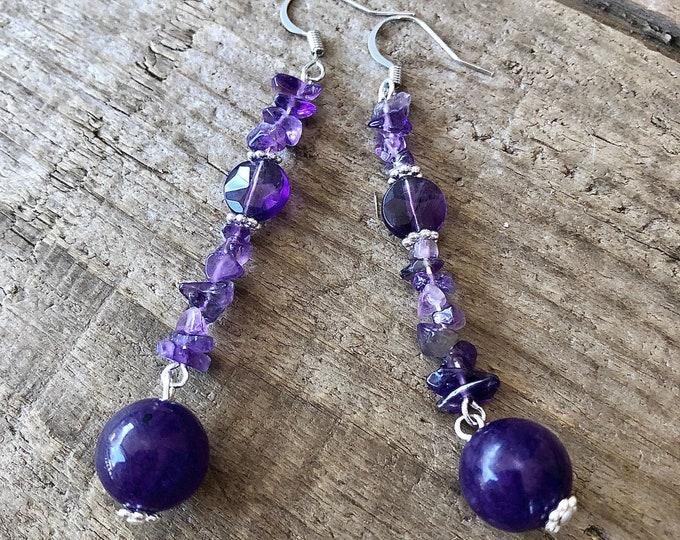 Purple Amethyst & Crystal Earrings