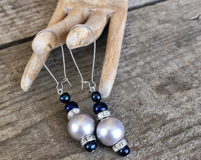 Navy and Silver Freshwater Pearl & Crystal Earrings