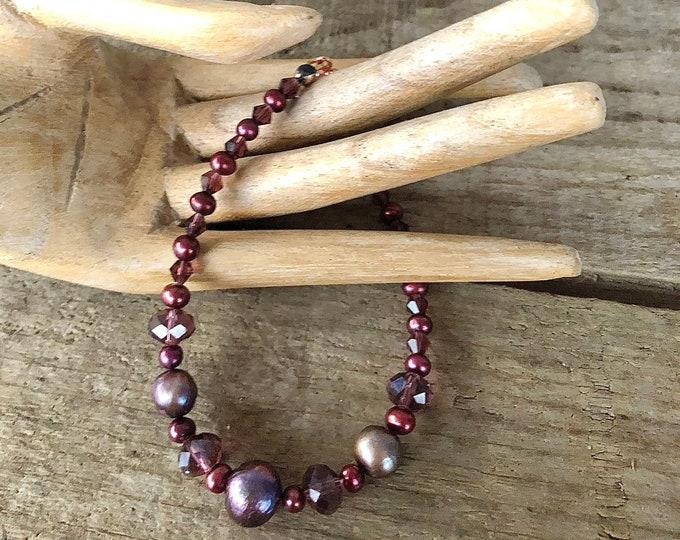 Plum Freshwater Pearl & Swarovski Crystal Bracelet