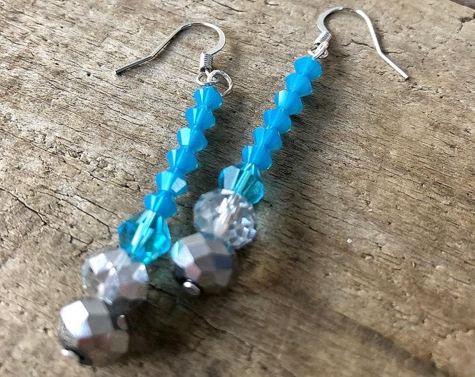 Turquoise & Silver Swarovski Crystal Earrings