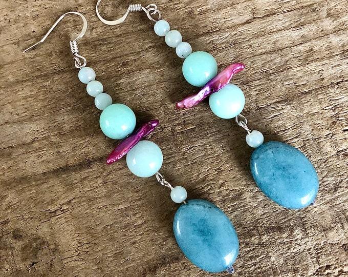 Aquamarine Amazonite & Pearl Earrings