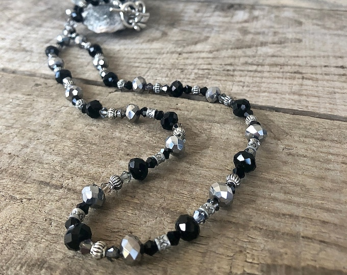 Black and Silver Czech Crystal Necklace