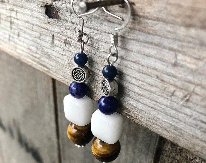 Blue Sodalite Calcite & Tiger Eye Earrings