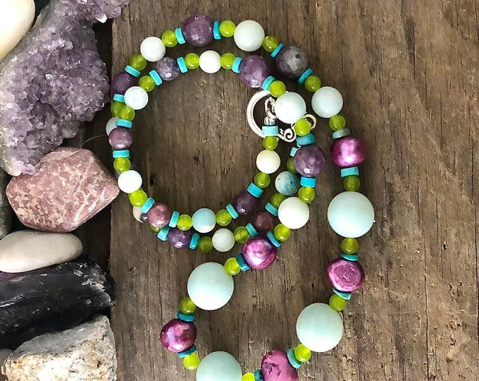 Turquoise, Peridot, Lepidolite, Pearl, & Amazonite Earrings