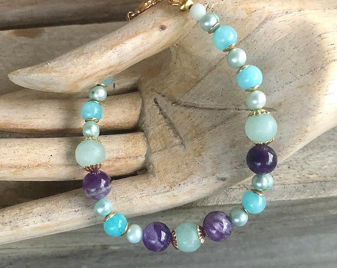 Blue Amazonite & Purple Lepidolite Bracelet
