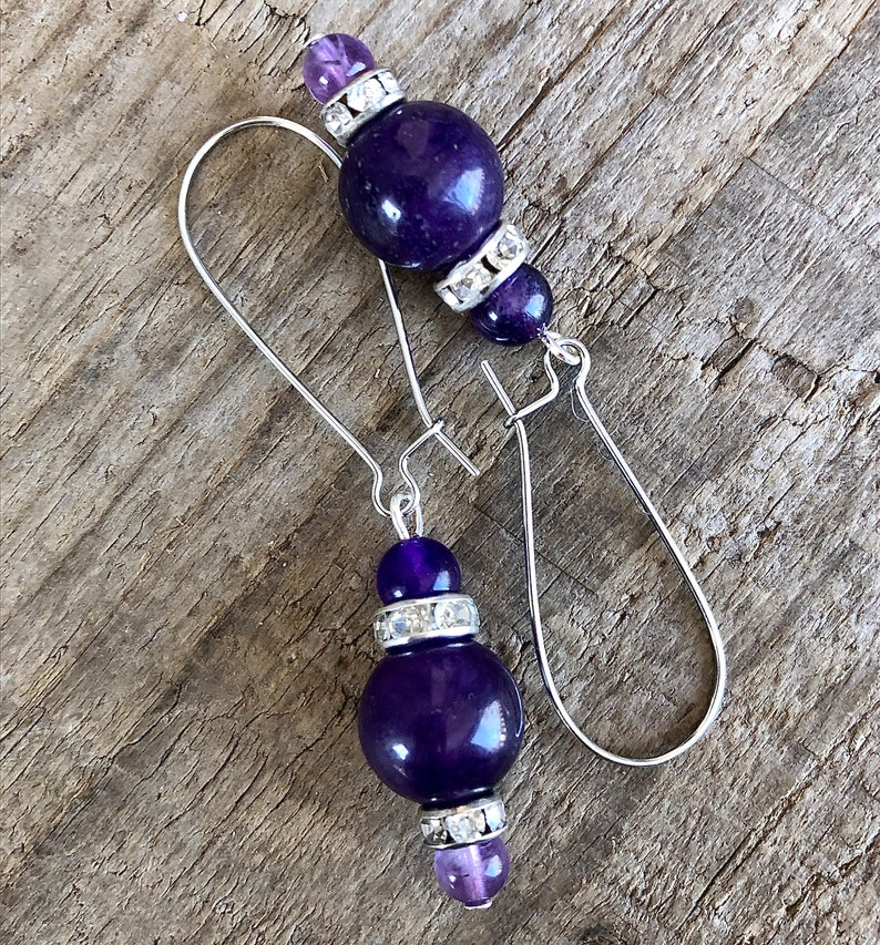 Amethyst /& Crystal Earrings Handmade Gemstone Boho Hippie Healing Statement Earrings Birthday Gift for Her