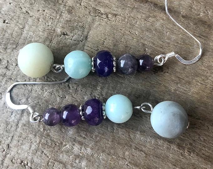 Blue Amazonite & Purple Amethyst Earrings