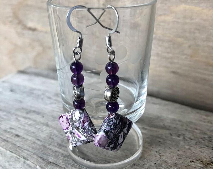 Mosaic Jasper & Amethyst Earrings