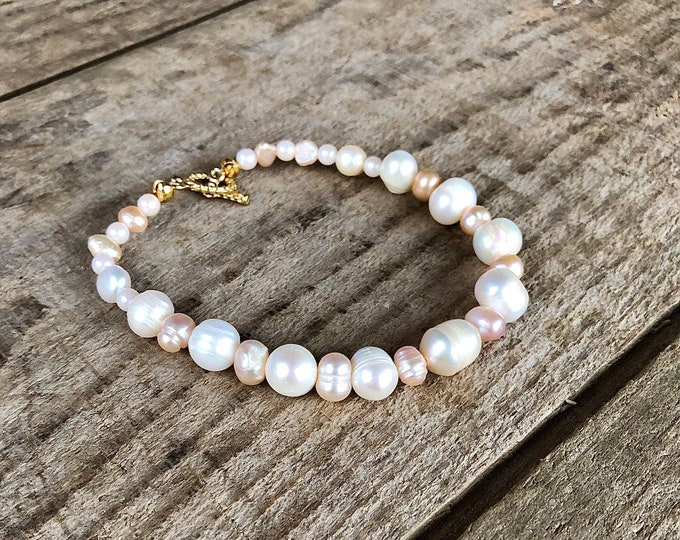 Ivory and Champagne Freshwater Pearl Bracelet