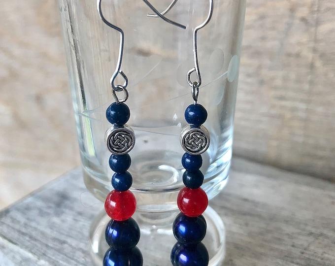 Ruby, Sodalite & Freshwater Pearl Earrings
