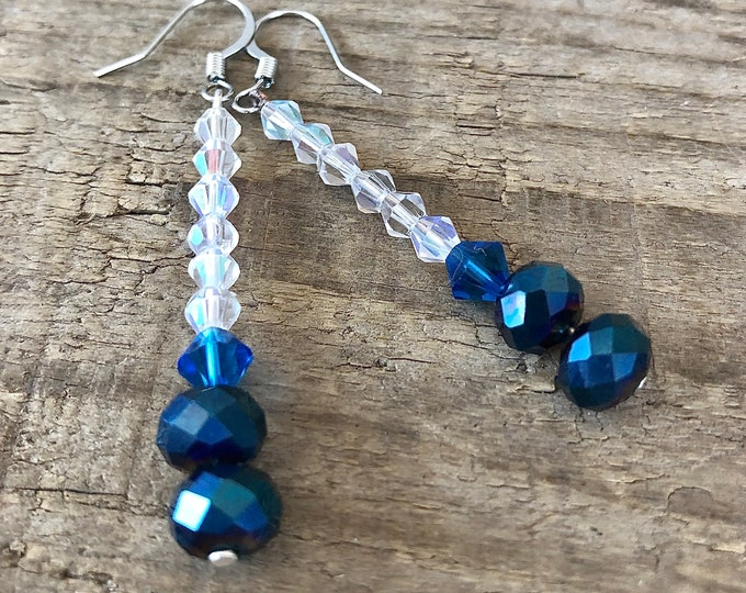 Teal and White Crystal Earrings